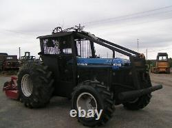 8010 New Holland / Ford Farm Tractor, 4x4 Forestry Package With Brown Bush Cutt
