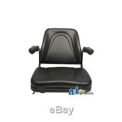 T500BL Universal Seat with Slide & Flip-Up Armrests for Tractors, Equipment, Mower
