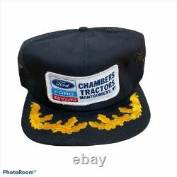 Vintage Ford New Holland Snap Back Hat Mens K-Products Patch Embroidered Truck