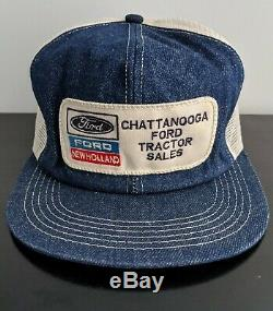 Vtg Chattanooga Ford New Holland Tractor K-Products Denim Mesh Trucker Patch Hat